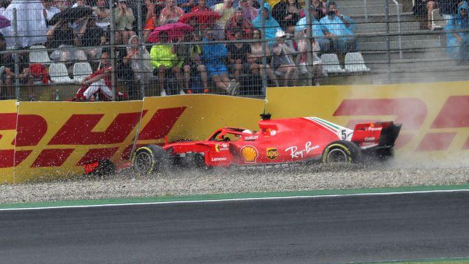 GP Germania 2018, l'incidente di Sebastian Vettel (Ferrari)
