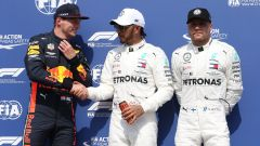GP Germania 2019, Hockenheim, Max Verstappen (Red Bull) e Lewis Hamilton (Mercedes) con Valtteri Bottas