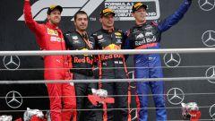 GP Germania 2019, il podio con Vettel (Ferrari), Verstappen (Red Bull) e Kvyat (Toro Rosso)