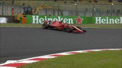 GP Giappone 2018, Qualifiche Suzuka, Sebastian Vettel va in testacoda all'hairpin con la sua Ferrari