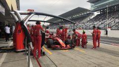 GP Giappone 2018, Sebastian Vettel  in pitlane con la sua Ferrari