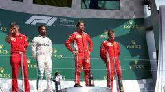 GP Gran Bretagna 2018, il podio di Silverstone con Vettel (Ferrari) vincitore su Hamilton (Mercedes) e Raikkonen