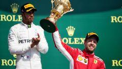 GP Gran Bretagna 2018, Silverstone: Vettel festeggia sul podio