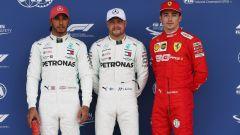 GP Gran Bretagna 2019, Charles Leclerc (Ferrari) con Hamilton e Bottas dopo la Q3