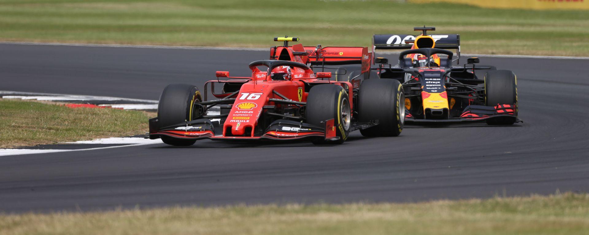 GP Gran Bretagna 2019, Charles Leclerc (Ferrari) e Max Verstappen (Red Bull)