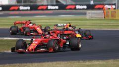 GP Gran Bretagna 2019, Charles Leclerc (Ferrari), Max Verstappen (Red Bull) e Sebastian Vettel (Ferrari)