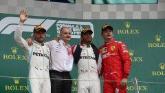 GP Gran Bretagna 2019, Charles Leclerc (Ferrari) sul podio con Hamilton e Bottas (Mercedes)