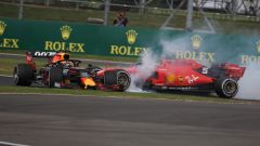 GP Gran Bretagna 2019, Max Verstappen (Red Bull) speronato da Sebastian Vettel (Ferrari)