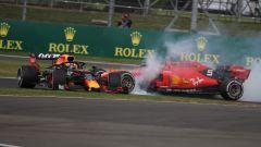 GP Gran Bretagna 2019, Max Verstappen (Red Bull) tamponato da Sebastian Vettel (Ferrari)