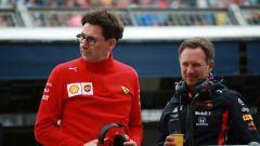 GP Gran Bretagna 2019, Silverstone, Mattia Binotto (Ferrari) e Christian Horner (Red Bull)