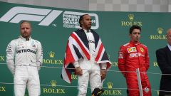 GP Gran Bretagna 2019, Valtteri Bottas e Lewis Hamilton (Mercedes), Charles Leclerc (Ferrari)