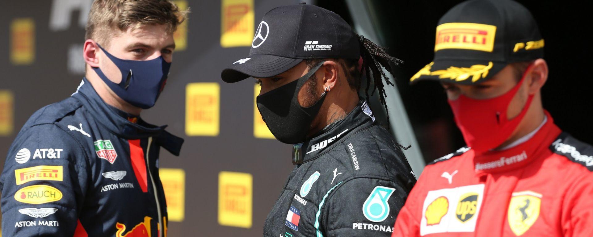 GP Gran Bretagna 2020, Silverstone: Charles Leclerc (Ferrari), Max Verstappen (Red Bull), Lewis Hamilton (Mercedes)
