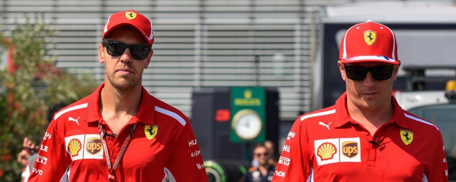 GP Italia 2018, Monza, Sebastian Vettel e Kimi Raikkonen, i due piloti della Ferrari