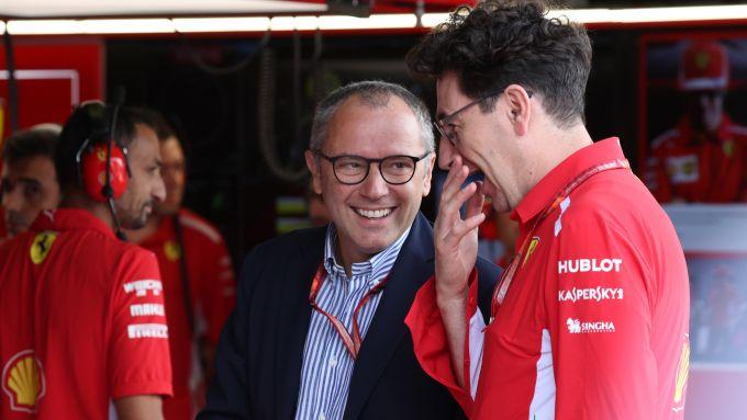 GP Italia 2018, Monza, Stefano Domenicali nel box della rossa con Mattia Binotto (Ferrari)