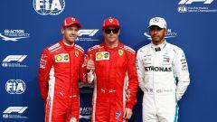 GP Italia 2018, qualifiche Monza: il poleman Kimi Raikkonen al centro tra Vettel e Hamilton