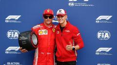 GP Italia 2018, qualifiche Monza: il poleman Kimi Raikkonen con Mick Schumacher, figlio di Michael