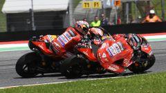 GP Italia 2019, Mugello, Danilo Petrucci (Ducati) e il sorpasso decisivo su Marc Marquez (Honda) e Andrea Dovizioso
