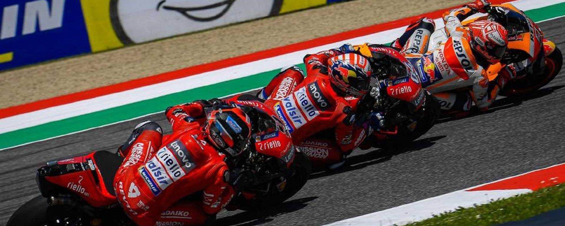 GP Italia 2019, Mugello: Dovizioso, Petrucci (Ducati) e Marquez (Honda)