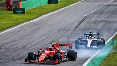 GP Italia 2020, Monza: Charles Leclerc (Ferrari) si difende da Lewis Hamilton (Mercedes)