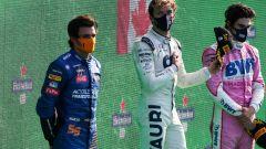 GP Italia 2020, Monza podio: Pierre Gasly (Alpha Tauri), Carlos Sainz (McLaren) e Lance Stroll (Racing Point)