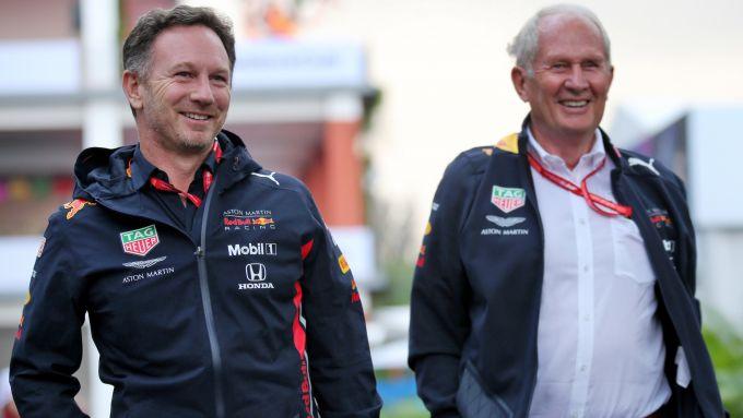 GP Messico 2019, Helmut Marko e Christian Horner nel paddock dell'Hermanos Rodriguez
