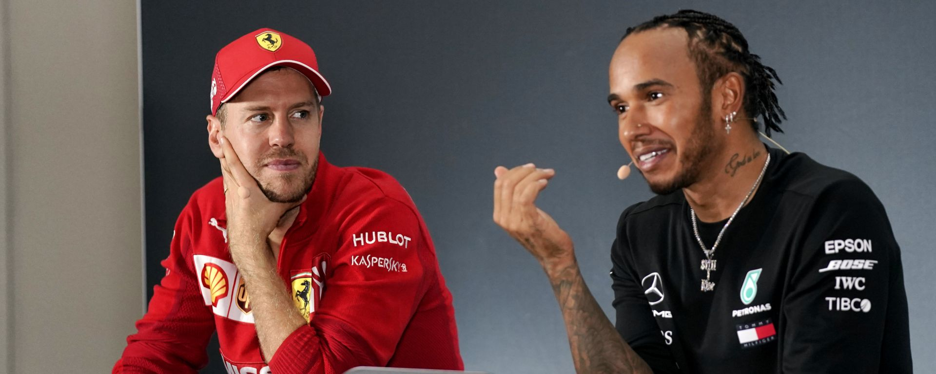 GP Messico 2019, Hermanos Rodriguez: Sebastian Vettel (Ferrari) e Lewis Hamilton (Mercedes) in conferenza stampa