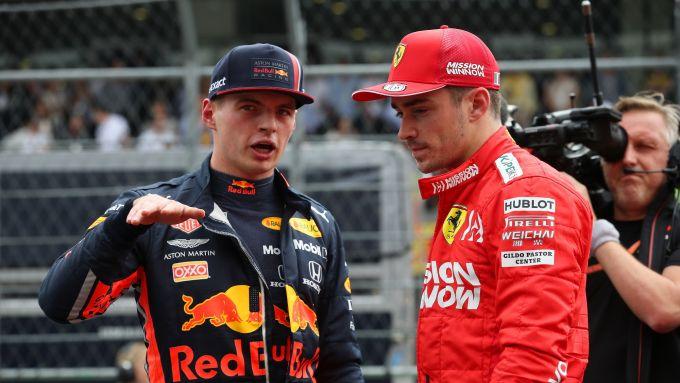 GP Messico 2019, Max Verstappen (Red Bull) e Charles Leclerc (Ferrari)
