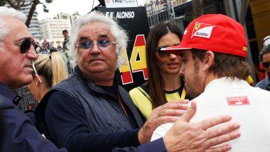 GP Monaco 2014, Fernando Alonso (Ferrari) con Lawrence Stroll e Flavio Briatore