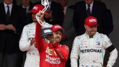 GP Monaco 2019, Sebastian Vettel (Ferrari) sul podio con Hamilton e Bottas
