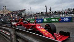 GP Monaco 2021, Monte Carlo: Sebastian Vettel (Ferrari) nelle barriere durante la Q3