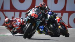 GP Olanda 2019, Assen, prime fasi di gara con Quartararo (Yamaha) davanti a Vinales, Marquez e Dovizioso
