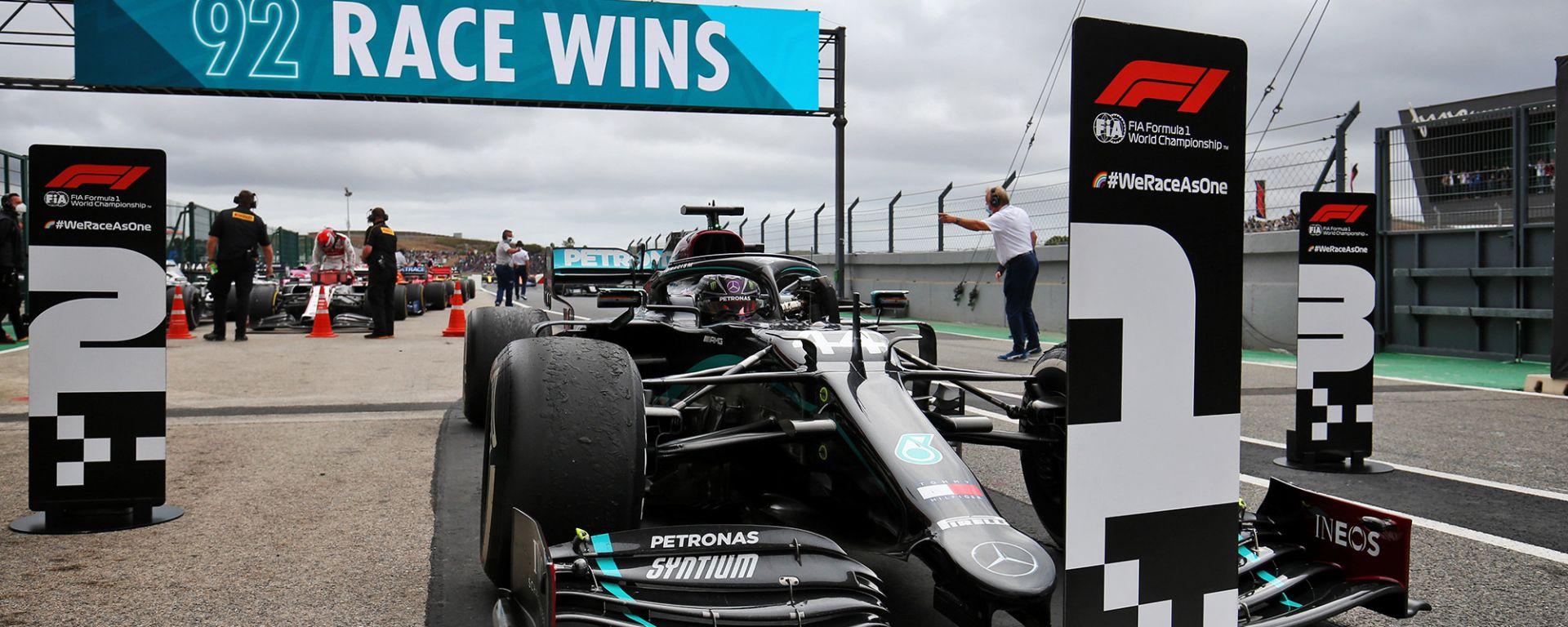 GP Portogallo 2020, Lewis Hamilton (Mercedes) fa 92 vittorie in carriera