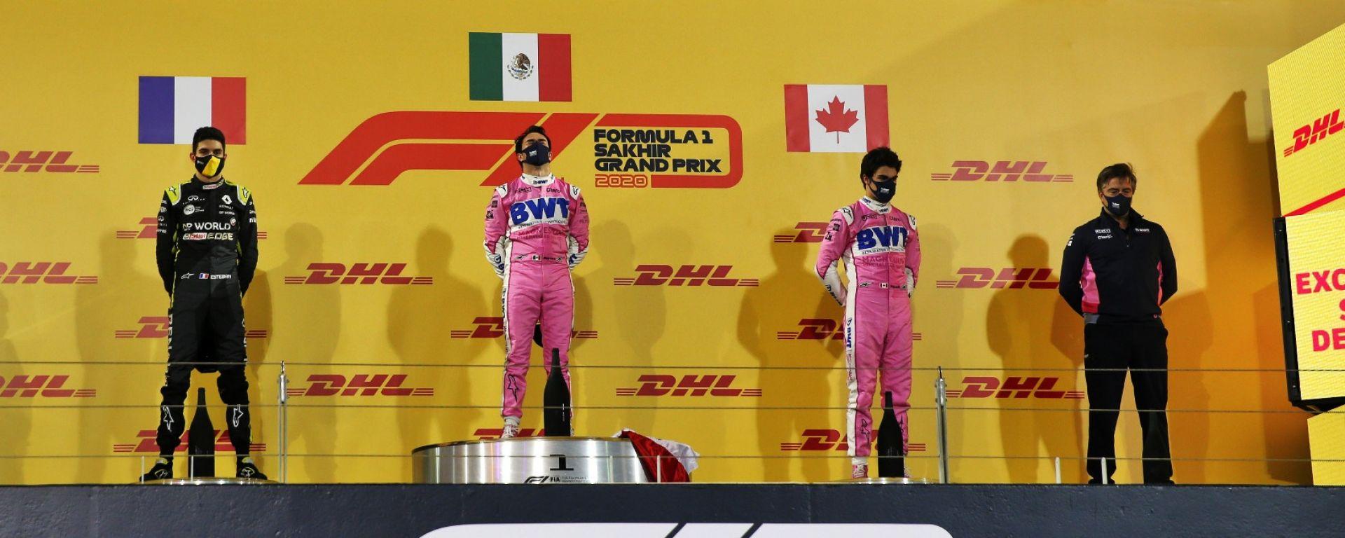 GP Sakhir 2020, il podio con Sergio Perez e Lance Stroll (Racing Point) ed Esteban Ocon (Renault)