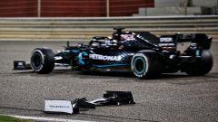 GP Sakhir 2020, l'alettone lasciato in pista da Jack Aitken (Williams) dopo il testacoda