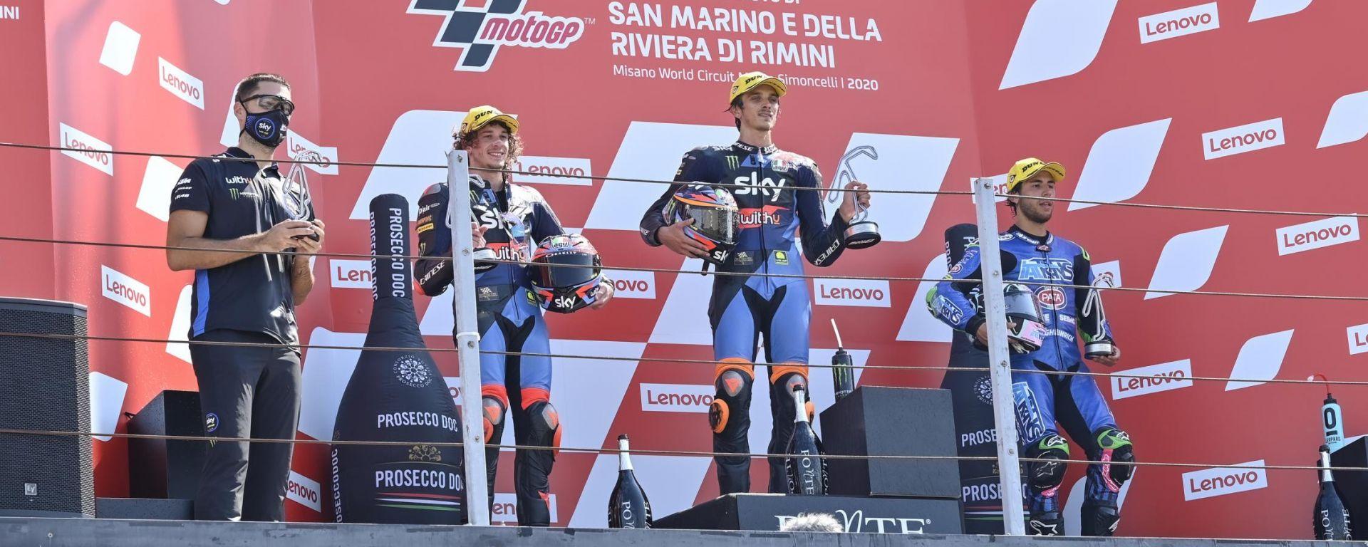 GP San Marino 2020, il podio della Moto2 a Misano con Marini, Bezzecchi e Bastianini