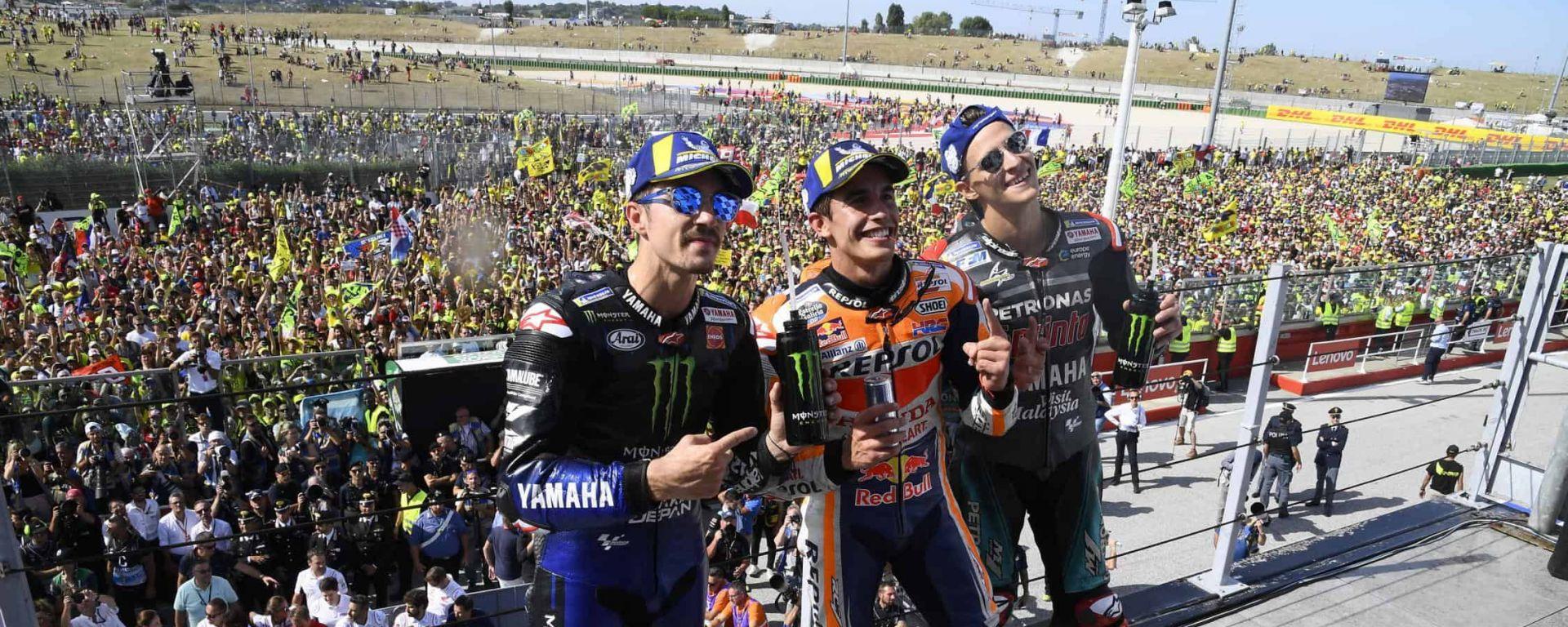 GP San Marino, il podio di Misano nel 2019: Marquez (Honda), Quartararo e Vinales (Yamaha)