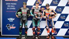 GP Spagna 2019, Fabio Quartararo e Franco Morbidelli (Yamaha), Marc Marquez (Honda)