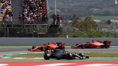 GP Spagna 2019, qualifiche, Sebastian Vettel (Ferrari), Charles Leclerc e Lewis Hamilton (Mercedes)