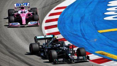 GP Spagna 2020, Barcellona: Valtteri Bottas (Mercedes), Lance Stroll (Racing Point)