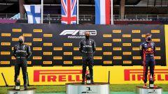 GP Stiria 2020, Spielberg: il podio con Lewis Hamilton (Mercedes), Valtteri Bottas e Max Verstappen (Red Bull)