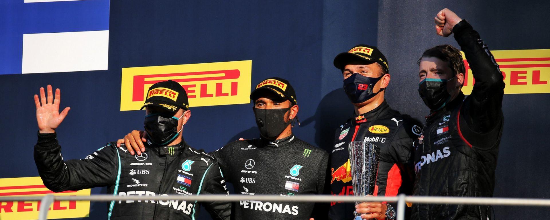 GP Toscana 2020, il podio del Mugello: Hamilton e Bottas (Mercedes), e Albon (Red Bull)