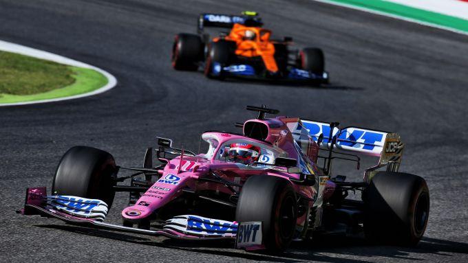 GP Toscana 2020, Mugello: Sergio Perez (Racing Point) e Lando Norris (McLaren)