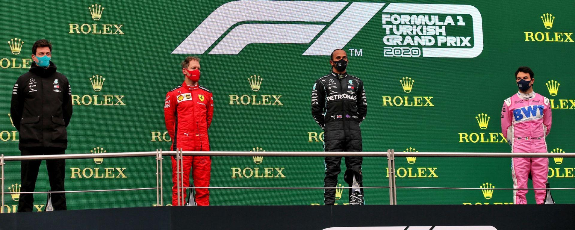 GP Turchia 2020, Istanbul Park - Sebastian Vettel (Ferrari) Sergio Perez (Racing Point), Lewis Hamilton (Mecedes)