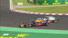 GP Ungheria 2018, Bottas e Ricciardo a contatto nelle fasi finali di gara