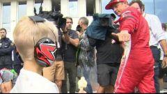 GP Ungheria 2018, Kimi Raikkonen saluta il figlio Robin dopo la gara