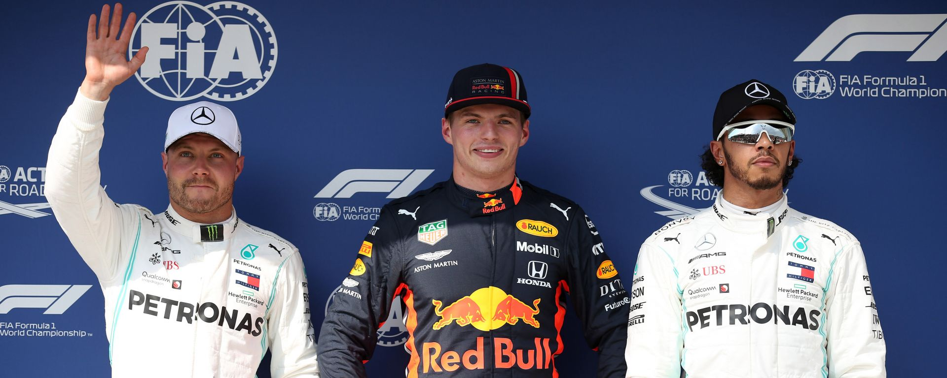 GP Ungheria 2019, Hungaroring, qualifiche: Bottas (Mercedes), Verstappen (Red Bull) e Hamilton