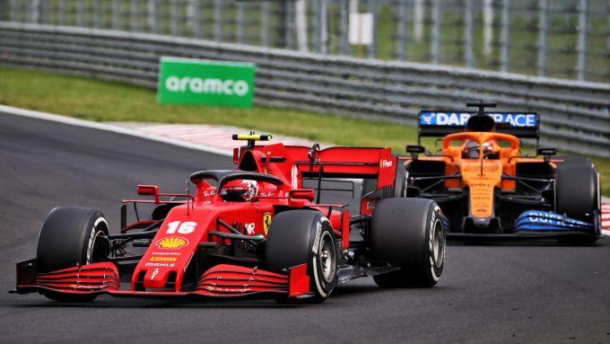 GP Ungheria 2020, Budapest: Charles Leclerc (Ferrari) e Carlos Sainz (McLaren)