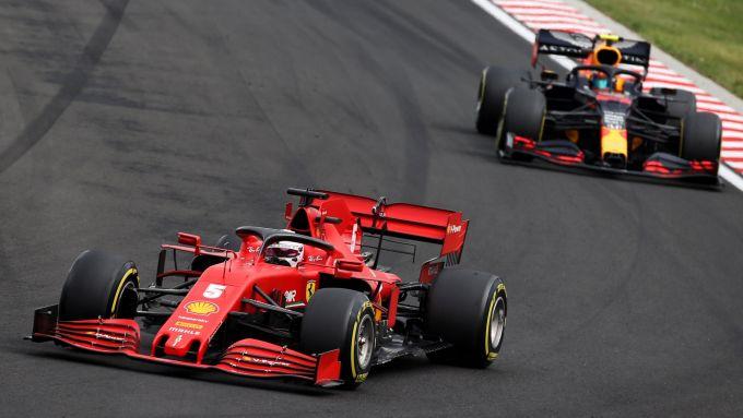 GP Ungheria 2020, Budapest: Sebastian Vettel (Ferrari) e Alex Albon (Red Bull)