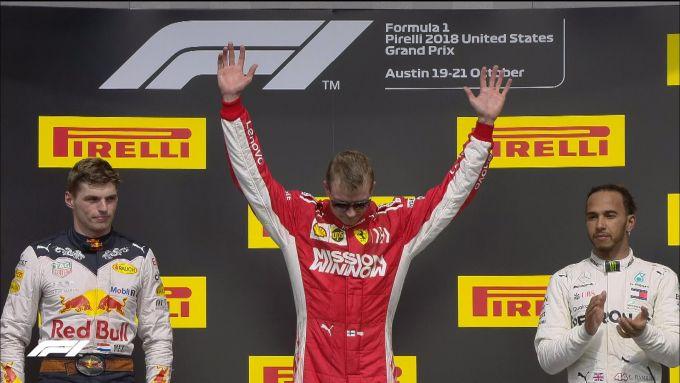GP USA 2018, Kimi Raikkonen sul podio tra Max Verstappen e Lewis Hamilton