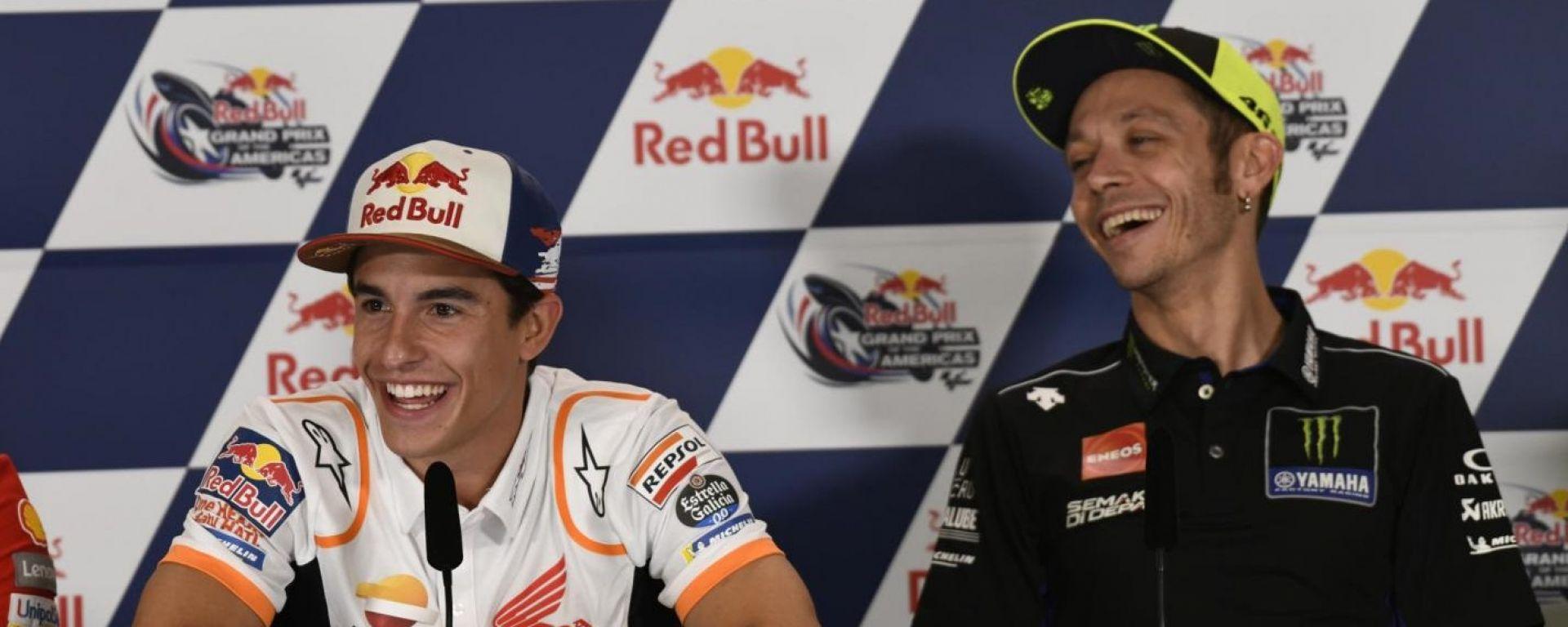 GP Usa 2019, Austin: Marc Marquez (Honda) e Valentino Rossi (Yamaha)